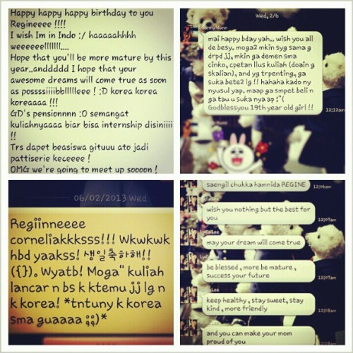 and…thanks to my supaaaah besties for the longest bday wishes (pt.3) hahaha! @michellelatif @HannyHunn_ @cherriechr @ChubbyLydialee salanghe xD ♡