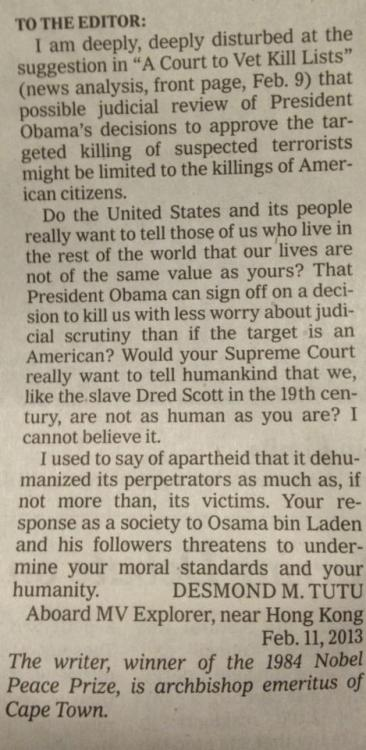 Archbishop Desmond Tutu's letter to the editor of the NYTimes on the U.S.' war on humanity.