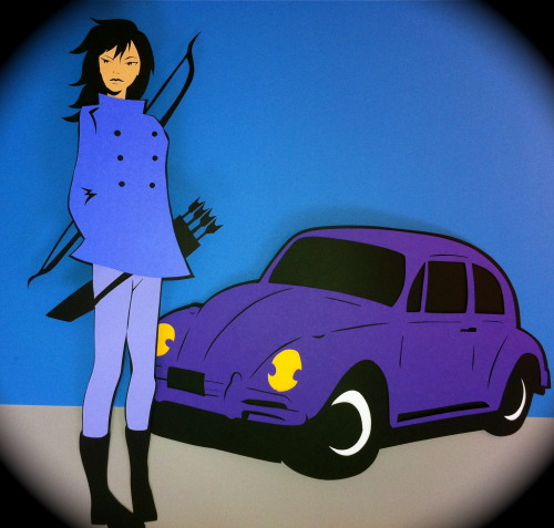 docgold13:  Hawkeye Kate Bishop with the VW Hawkmobile