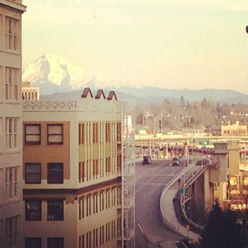 View from my desk today. Not too shabby. #mthood #pdx  (at Vitamin T)