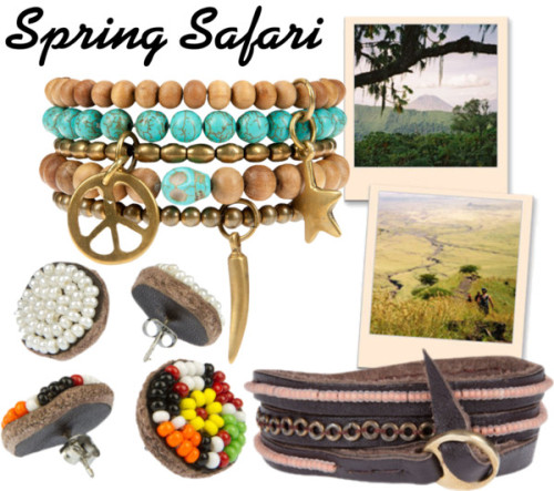 Me to We Spring Safari by myafrofashion featuring earringsBracelet / Earrings / Earrings / Bracelet