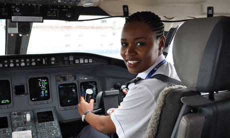 "noeuddeviperes:  Rwanda's first female pilot takes to the skies at 24 Esther Mbabazi trained to fly Rwandair regional jets despite her father being killed in a plane crash when she was eight By Jenny Clover Esther Mbabazi was eight years old when her father was killed in a crash as the plane he was flying in overshot the runway landing in the Democratic Republic of Congo. So when, a few years later she announced her intention to train as a pilot, the planwas not well received by some of her family. But at the age of 24, Mbabazi has made history as the first female Rwandan pilot – although as a woman she says she doesn't make flight announcements because it scares the passengers. ""Some people questioned why I wanted to do it, they thought I wanted to be a pilot to find out what happened to my dad, but that didn't have anything to do with it,"" Mbabazi said. ""Being a pilot really was my childhood dream, I don't think anything was going to stop it. It started when I travelled with my family and we would get the free things for kids, like the backpacks. I really liked that and I just liked to travel. The whole intrigue of this big bird in the sky, I was amazed. That and the free backpacks planted the seed."" Mbabazi, who is fluent in five languages, trained at the Soroti flight school in Uganda before being sponsored to continue her training in Florida by national carrier Rwandair. She now flies the company's CRJ-900 regional jets across Africa. The death of her father has influenced the way she flies. ""It has moulded my character as a pilot, and I think what happened to my dad makes me a little more safe. It could have stopped me, but an accident is an accident. If someone is knocked over in a car you don't stop driving. As a pastor's child I know that you have to let stuff go."" One person who never questioned Mbabazi's plans was her mother, Ruth. A strong farmer and businesswoman, she wasn't fazed to see her daughter take to the air after what the death of her husband, who was a Pentecostal pastor before his death. ""I didn't get any resistance from my mum,"" Mbabazi said. ""In her time she was the only girl in her electricity class, so she doesn't have any issues with what I do. She has five children and whether we want to do fashion or aviation, as long as we're doing something we're interested in, she's happy."" Mbabazi was born in Burundi, where her family had moved beforeRwanda's genocide in 1994. The family moved back to Rwanda in 1996. While not without its critics, particularly on human rights issues, Rwanda is now a secure and rapidly developing country. GDP grew by 7.7% last year and the government claims to have lifted one million people out of poverty in five years. Particular progress has been made towards gender equality. Women make up more than half of MPs. ""Things are changing in Rwanda,"" says Mbabazi. ""Before you wouldn't find women driving taxis here, and now you see it. There are men who cook now in Rwanda, when, in an African culture, women have to cook. So I think eventually things change. If you really work hard and you prove that you can do something well, I don't think there's a question of you being a woman, it doesn't come into the equation. ""There are not so many male Rwandan pilots either. So even though I am the first female, my colleagues are the first male Rwandan pilots to be flying commercial planes. So I think it's a big change for all of us Rwandans and something that should be celebrated."""