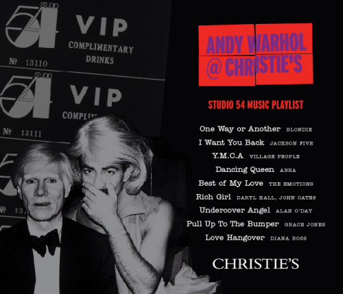 Listen to our Studio 54 music playlist while you SHOP the online-only Warhol sale at http://onlineonly.christies.com CLICK HERE TO LISTEN