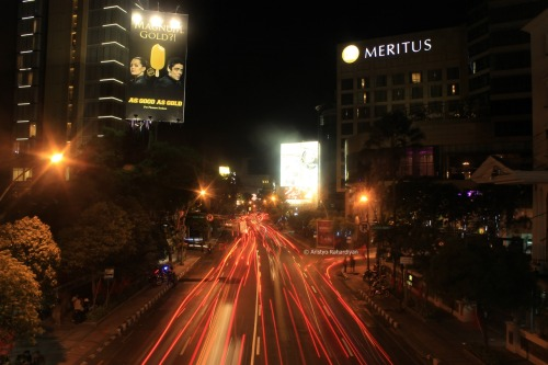 Busy street at night, in the heart of Surabaya