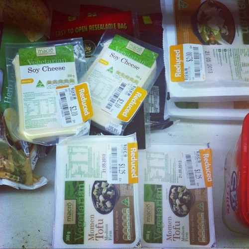 Getting excited over Woolworths reduced product. Be here tomorrow plz. #tofu #soycheese #vegan