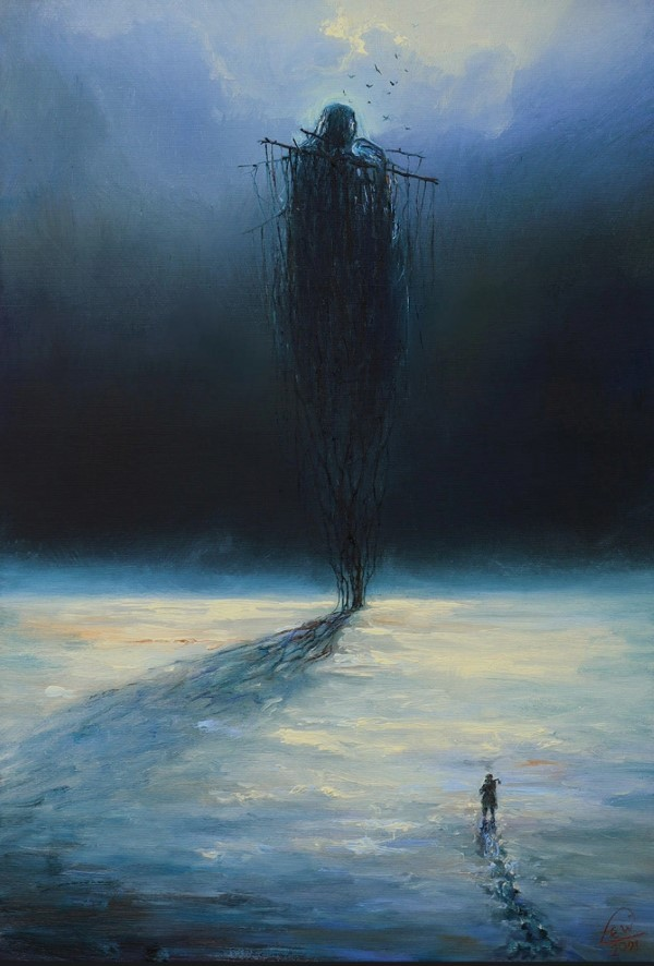 Winter Nocturne - Mariusz Lewandowski (oil painting on canvas, 2021) #art#dailyart#winter#nocturne#painting#sinister#scary#horror#ethereal#surrealism#showcase#surreal#contemporary#surreal horror#horror art#modern#snow#cold#contemporary art#blue#ice#icy#modern art#canvas#oil painting#mariusz lewandowski #artists on tumblr