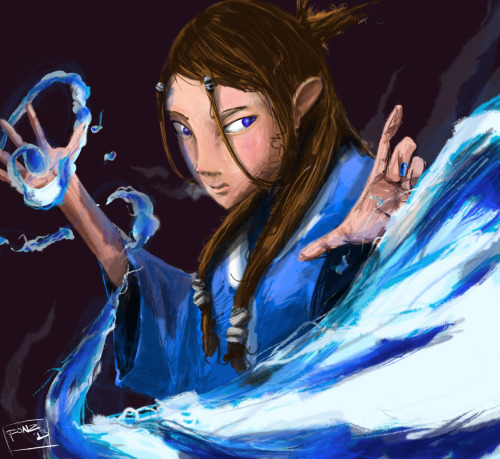Katara, by me Sketched in pencil Scanned and painted in Photoshop CS