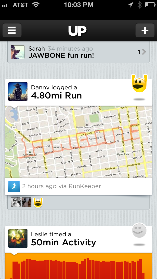 The crew at Jawbone was so excited about our integration, they decided to run a route with RunKeeper that spelled out Jawbone. Pretty awesome, right?