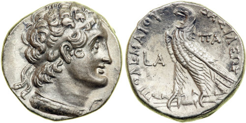 Coin featuring Ptolemy I, General of Alexander the Great and founder of the Ptolemaic Dynasty, dating from the reign of Cleopatra III and her son, Ptolemy IX.