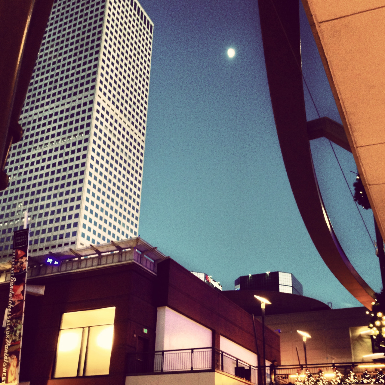 Denver at dusk and the moon. #denver #cityscape #moon