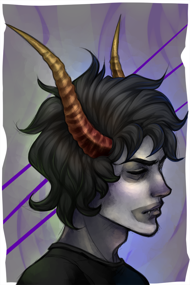 "Here's the ""regular"" full color, with makeup version of Gamzee.  (A commission for tiny-puppy-teeth)"