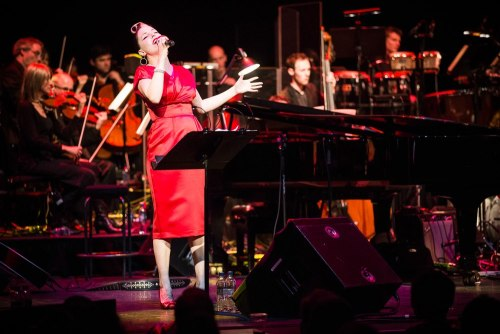 The gorgeous Imelda May in our Jezebel Red Duchess Dress at Barbican for London Jazz Festival.Get yours here; http://www.vivienofholloway.com/en/category/jezebel-pencil-dress/