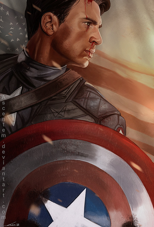 matteoascente:  captain america, fan art just a practice with reference