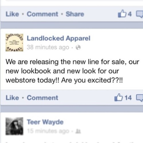 Heaps of good new stuff going down at Landlocked Apparel today. Check us out after 3pm! www.landlockedapparel.com