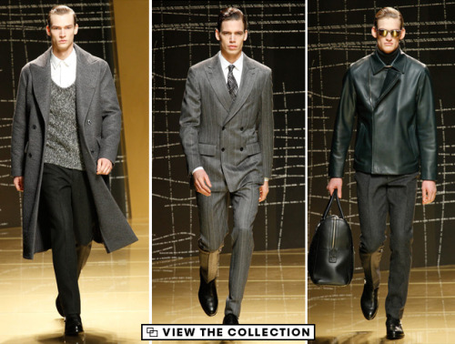 Ermenegildo Zegna Fall 2013: Money Never Sleeps Hip-ify Wall Street. Ermenegildo Zegna shed a new, luxurious light on '80s-influenced power looks this season, giving pinstripe suits and leather jackets preternatural levels of sheen. A whole spectrum of grays, blacks, and sunglasses combined with trim silhouettes to create a decidedly mature, masculine look, but when constructed with unmistakably rich fabrics and luxurious details, makes for a wardrobe that even the shyest of one-percenters will be compelled to strut their stuff in. View the collection