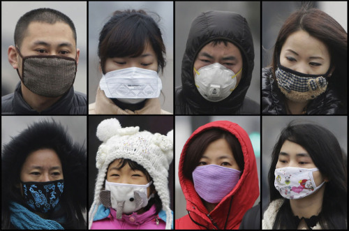 theatlantic:  In Focus: China's Toxic Sky  Since the beginning of this year, the levels of air pollution in Beijing have been dangerously high, with thick clouds of smog chasing people indoors, disrupting air travel, and affecting the health of millions. The past two weeks have been especially bad — at one point the pollution level measured 40 times recommended safety levels. Authorities are taking short-term measures to combat the current crisis, shutting down some factories and limiting government auto usage. However, long-term solutions seem distant, as China's use of coal continues to rise, and the government remains slow to acknowledge and address the problems. * Starting with photo #2, a four-part set of these images is interactive, allowing you to click the photo and 'clear the air', viewing a difference over time. See more. [Images: AP, Reuters, Getty]