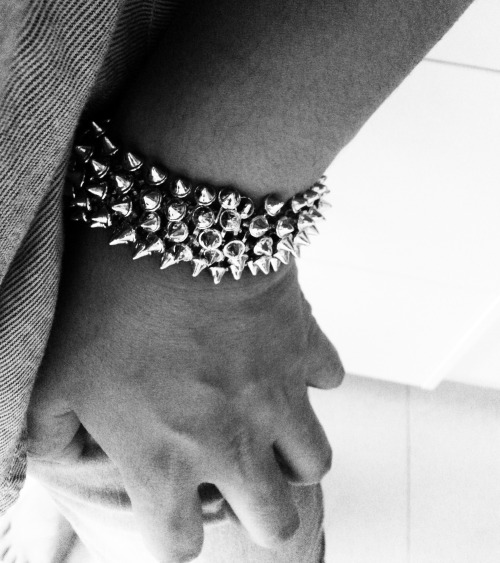 A studded cuff is tough enough.  leetspeaker.tumblr.com