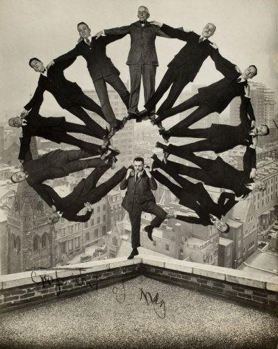 vahc:  Unidentified American artistMan on Rooftop with Eleven Men in Formation on His Shouldersc. 1930Gelatin silver printCollection of George Eastman House, International Museum of Photography and Film, Rochester