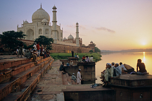 Taj Mahal at sunset.