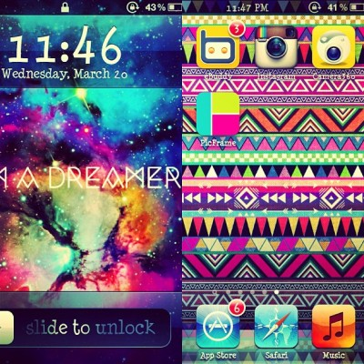 "My colorful lock and home screen :""""> Ajujujuju! Hihi. #aztec #love #cute #wallpaper #igers #ipod #awesome #colorful"