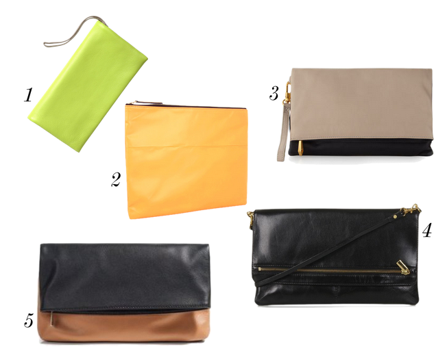 Had your eye on a Clare Vivier leather foldover clutch but don't want to spend that much money? Here are five leather foldover clutches under $100. Gap Leather Foldover Clutch, $39.95 - Take 30% off with code GAPTREAT BCBGMaxAzria Neon Foldover, $89.99 (from $148) Christopher Kon Foldover, $98 (from $190) Topshop Leather Foldover Clutch, $68 Guess by Marciano Cara Clutch, $75 (from $148)