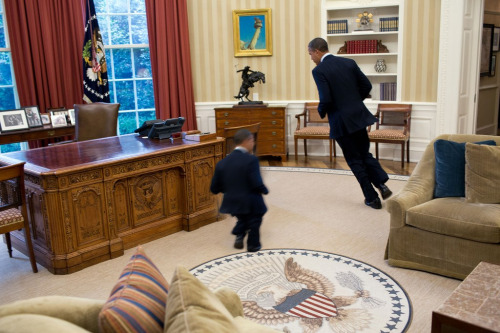 radock:  small obama chases a much larger version of himself