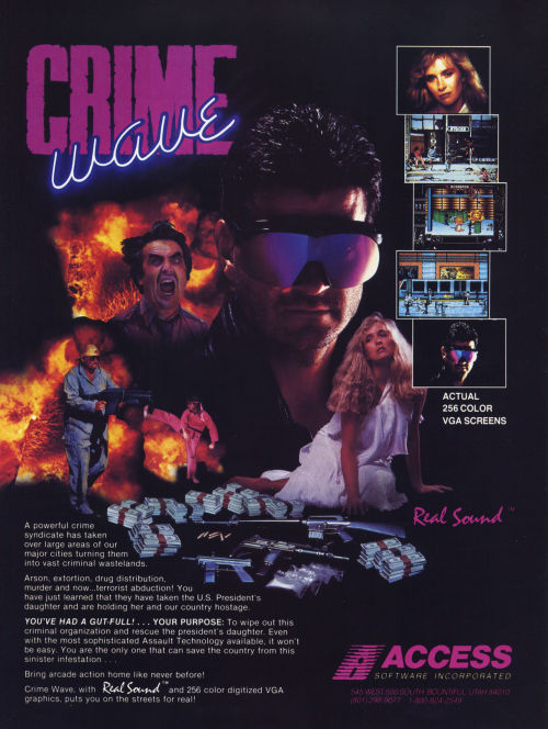 "obscurevideogames:  vgprintads:  ""Crime Wave"" Computer Gaming World, January 1990 (#67) Uploaded by CGW Museum The poor man's NARC.  (Access Software - PC - 1990)"