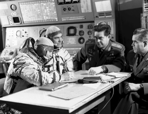 The Soyuz 12 crew, Oleg Makarov and Vasily Lazarev, with Georgi Beregovoy, chief of the Cosmonaut Training Center and Andriyan Nikolayev, his deputy. (Source)