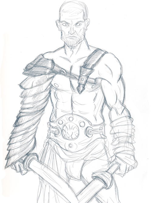 Sketch of Spartacus from Spartacus: Blood and Sand.