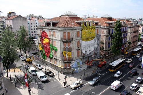urbanination:  Lisbon's Crono Project commissions artists to transform the fronts of neglected buildings with street art.