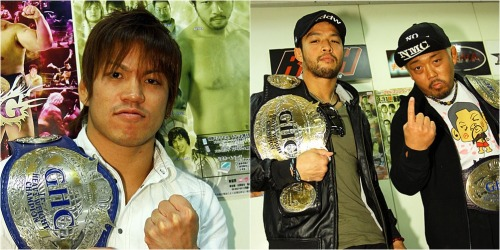 "[NOAH News] KENTA, Genba Hirayanagi and Taiji Ishimori were apart of a press conference today to talk about their plans going forward as the reigning champions in NOAH.Ishimori is coming off of a successful defense against Atsushi Kotoge and his next defense has already been set as he will face Ricky Marvin on March 31.Marvin holds a victory over Ishimori following the  TORNEO LATINO AMERICANO DE LUCHA LIBRE that took place in February. Ishimori aims to reclaim that loss. Ishimori and Marvin have plenty of history over the years from roughly 11 years ago when they were both training/working in Toryumon. Ishimori has already laid out his goal in a previous conference by saying that he wants to claim the honor of having the most defenses with the GHC Jr. belt.During the conference it was mentioned if Ishimori would plan on holding a defense for the belt in North East part of Japan, it is 2 years today when the major earthquake occured, and it seems it could be a possibility during NOAH's ""Northern Navigation"" tour in May.KENTA and Genba were on hand for the 2nd part of the press event. KENTA successfully defended the GHC Heavy belt against Maybach Taniguchi and Genba & Maybach Jr. managed to claim the GHC Jr. Tag belts against Los Mexitosos.KENTA said that it feels good to claim his first defense with the belt and that he hopes to defend the belt on May 11 during Kenta Kobashi's retirement show at Budokan Hall. It would be nothing more than honor for KENTA to defend the belt in Kobashi's honor. (As of right now the rumor is that KENTA will face Marufuji, but it is nothing more than a rumor.)KENTA's next goal is to dominate the upcoming GLOBAL TAG LEAGUE, which is set to begin on April 13. KENTA will be teaming with Takayama and he stated that he wants to further carve the NO MERCY name along with him.With NO MERCY (NMC) now holding more power within NOAH, KENTA's stated that the next step is to enact a ""regime change"", or a true change of power. KENTA requested that if NO MERCY wins the GLOBAL TAG LEAGUE that all matchmaking rights be transferred to NMC.It seems that KENTA is still dissatisfied with how things are still being run ad a much needed change is still needed.Genba Hirayanagi expressed a title show against Taiji Ishimori, but from the show yesterday Ishimori has made it known that he wants a title shot for the GHC Jr. Tag belts. Ishimori already has a title match set for this month, but it may be possible to see a Jr. Tag title match next month during the GTL. Nothing has been set at this time. Right now there is a battle between BRAVE (Marufuji/Sugiura) and CHAOS (Yano/Iizuka) over the tag belts. Maru & Sugi have already stated that they want a rematch for the GHC Heavy tag belts following the controversial match which saw Yano & Iizuka walk out the champions. KENTA as well has issues with CHAOS following the turn of Maybach Taniguchi against him, with KENTA looking to return the belts that were taken away. He got his revenge over Maybach with his successful defense, but now it is time for him to go after Yano & Iizuka for creating the hostile environment over the last month.GLOBAL TAG LEAGUE 2013 announcementhttp://keepingthespiritalive.tumblr.com/post/45042771390/noah-news-pro-wrestling-noah-announced-the-teamsNOAH Event Cards for March & April 2013http://www.puroresuspirit.com/2013/02/25/noah-event-cards-for-march-april-2013/Pro Wrestling NOAH ""Spring Navig. 2013"", 3/31/2013 [Sun] 18:30 @ Korakuen Hall in Tokyo() ""VooDoo MURDERS"" Kento Miyahara & Taishi Takizawa vs. Shane Haste & Bruiser Barry() BRAVE vs TMDK Tag Match: Takeshi Morishima & Mohammed Yone vs. Mikey Nicholls & Jonah Rock() BRAVE vs DIAMOND RING 6 Man Tag Match: Naomichi Marufuji, Takashi Sugiura & Yoshinari Ogawa vs. Kensuke Sasaki, Katsuhiko Nakajima & Satoshi Kajiwara() Maybach Taniguchi vs. Maybach Taniguchi Jr.() GHC Junior Heavyweight Championship Match: [26th Champion] Taiji Ishimori vs. [Challenger] Ricky Marvin~ 2nd Defense.() NO MERCY vs CHAOS 6 Man Tag Match: KENTA, Yoshihiro Takayama & Genba Hirayanagi vs. Toru Yano, Takashi Iizuka & Yujiro Takahashi"