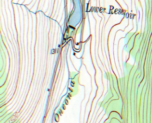 "Lately I've been into glitching maps. Here is ""the Lower Reservoir"". It's actual printed size is 36"" x 36""."