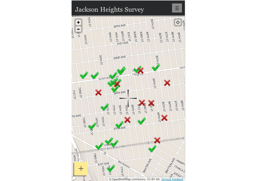 Jackson Height Neighborhood SurveyJackson Heights Beautification Group Residents of Jackson Heights, New York can map locations they feel are beautiful or in need of improvement. Suggestions such as tree care and green spaces opportunities, transportation needs, places for sitting, traffic sites, volunteer opportunities, ideas for art projects are all welcome. The Jackson Heights Beautification Group is a grassroots community organization of people who live and work in Jackson Heights and care enough to help make Jackson Heights one of the best neighborhoods in Queens and New York City. JHBG supports high standards; preservation; local pride; diversity; inclusion; cleanliness; greenery; civility; local schools, institutions, and merchants; and anything that enhances Jackson Heights. http://jacksonheights.shareabouts.org/page/about
