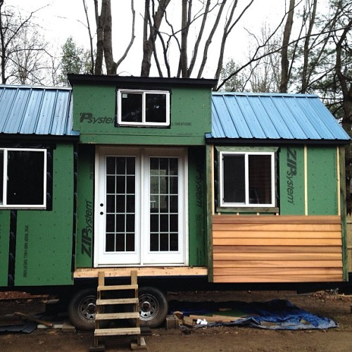 collectivelyfrivolous:  Guess what we just started!!!!😁 #tinyhouse #cedar #trim #diy #sustainability #tinyhome #ecofriendly #carbonfootprint
