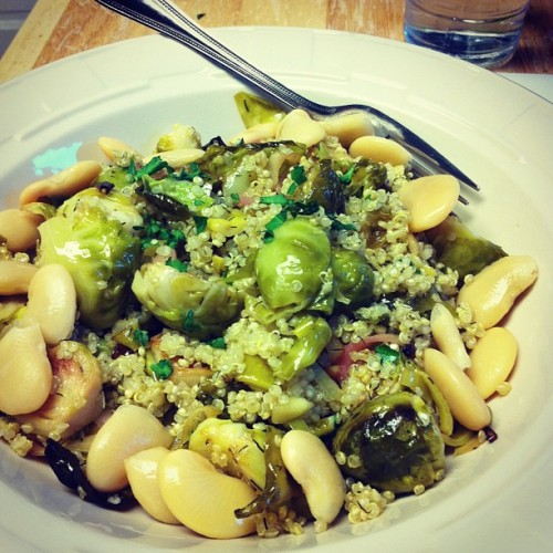 Quinoa with roasted Brussels sprouts, leeks, and slivered almonds and a side of butter beans #vegan #whatveganseat