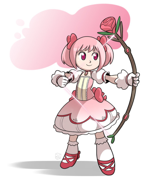 cubewatermelon:  Warmup Megukas! Drew a Madoka to go with Sayaka and Mami. I wanted to see just how circular I could get everything.