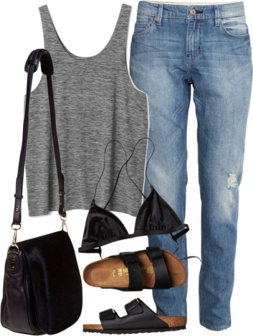 Untitled #1477 by fashionbyedith featuring swim topsPatagonia swim top / H&M boyfriend jeans, $50 / Birkenstock black sandals / Nomadic crossbody bag, $280