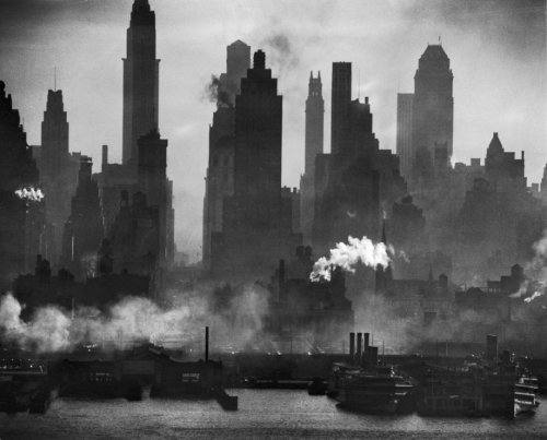 Andreas Feininger A view of bustling, raucous New York City, looking straight down 42nd Street, January 1946. From Time & Life Pictures/Getty Images