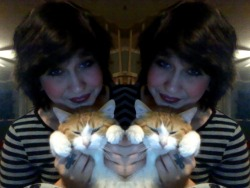 me and my kitty, Whiskey <3 in case you didn't know, Whiskey is short for Wiz Khalifa  yeah  I named him after Mr. Black and Yellow