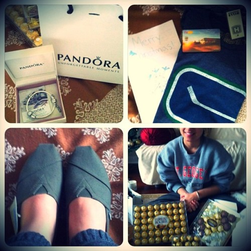 Im so blessed :) #presents #christmas #pandora #toms #chocolate #canucks #timhortans #love #ferrerorocher