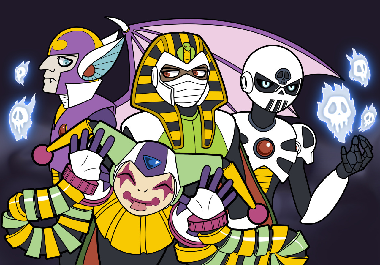 Happy (early) Halloween! #For anon asking for more clown man  #but I added a few  #all the horror bots plus pharaoh man  #because mummies I guess  #spooky scary skeletons gets stuck in head every time with Skull Man #my art#digital art#robot masters#Clown Man#shade man#Pharaoh Man#skull man#syndicate#megaman #Ruby-Spears Mega Man #rockman