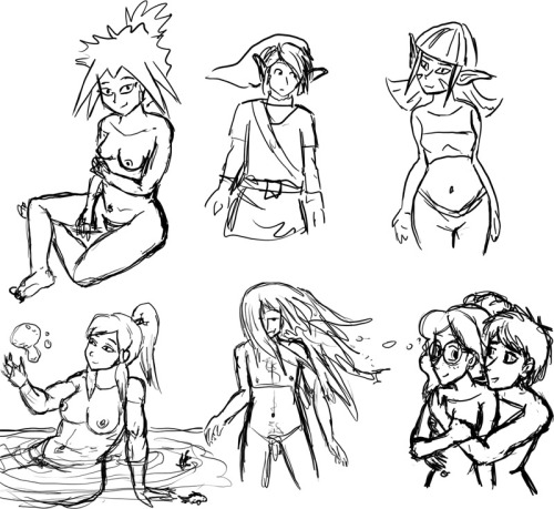 Here are a few quick sketches I did whilst getting used to my new Cintiq. It's a bit trickier than I expected, especially since I could only afford the 12WX so I'm working with a much tinier screen than I am used to, but still, I think this will prove to be a rather useful tool. left to right, top to bottom: Swallowtail, Link, Duna from Fossil Fighters, Korra, cool long-hair guy with pointy dick, Marten and Claire from QC. btw most of them are naked because, most people don't know this, but if you are an artist you can draw whatever you want!! You don't even have to draw clothes at all if you don't want to. Use this trick to surprise your friends and taunt your enemies!