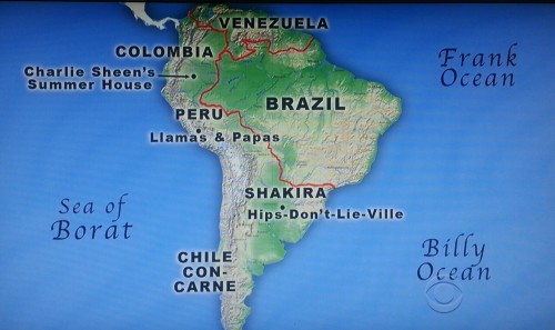 Totally accurate map of South America courtesy of Craig Ferguson.