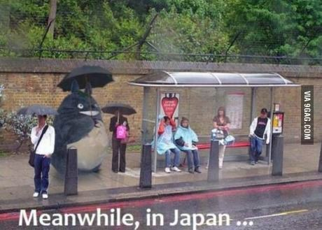 9gag:  Bus stop in Japan