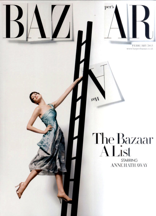 Stunning Anne Hathaway wearing Donna Karan at Harper's Bazaar UK cover.
