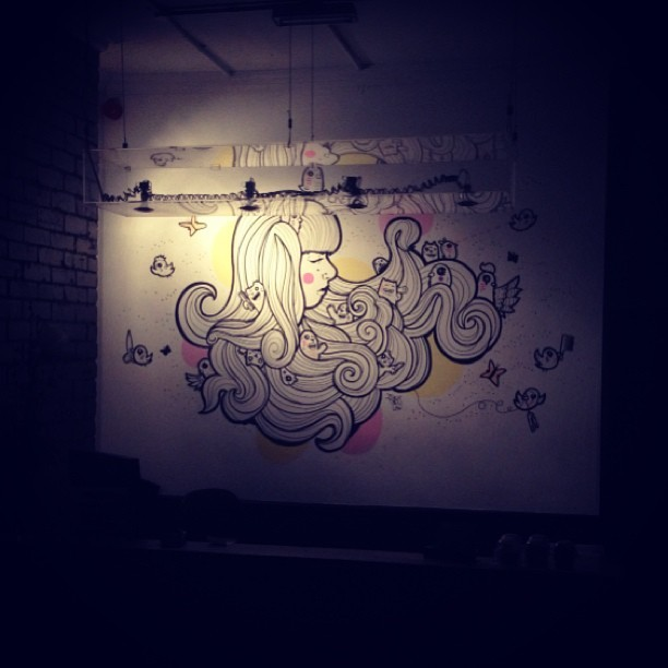 Even when @hairkandi is closed, my girl is on guard #walldoodle #sheffield #illustration