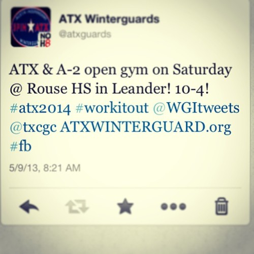 atxguard:  Join us on Saturday at our spring open gym! Details at www.ATXwinterguard.org. #worthit #wgi2014 #atx2014