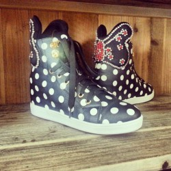 Sneak peek to our new sneaks #shoes #kicks #sneakers #hightop #polkadots #retro #swag #style #fashion #trend #instastyle