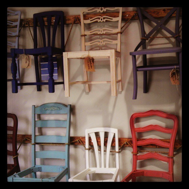 #chairs on a wall at #peinture @sococollection #sclb #tour Makes me want to find old #furniture.and paint it! #crafty #interiordesign #design #latergram #oc
