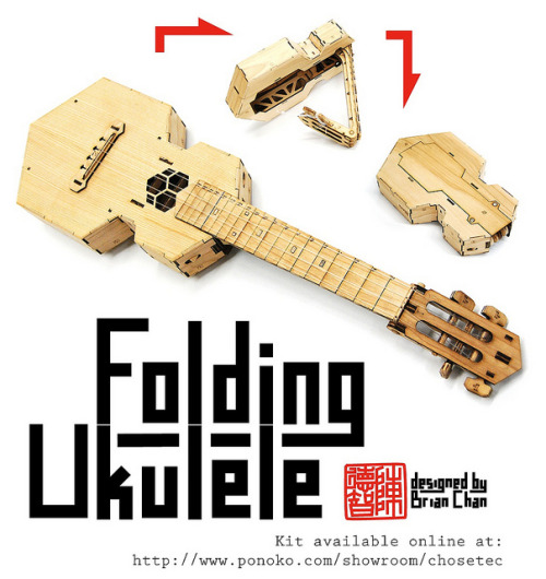 punkwithaukulele:  phonogeek:  A Folding Ukulele by Chosetec on Flickr.  HOLY WANT.  I'd be intrigued to hear what it actually sounds like… Good idea otherwise though